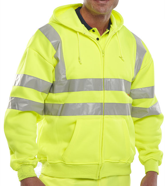 High Visibility Yellow Hooded Full Zip Sweatshirt ...