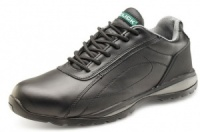 Safety Trainer Shoe - Black Leather With Steel Toe Cap And Mid Sole