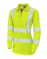High Visibility Yellow Coolviz Plus Pollyfield Ladies Long Sleeved Polo Shirt