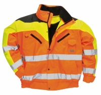 High Visibility Orange Three Tone Contrast Waterproof Bomber Jacket