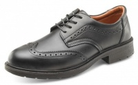 Managers Brogue Safety Shoe In Black Leather With Steel Toe Cap
