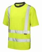 Leo Workwear T02-Y Braunton High Visibility Yellow Coolviz T-Shirt