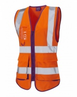 Ladies High Visibility Orange Lynmouth Superior Vest EN ISO 20471 Class 1