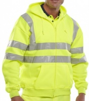 Printed High Visibility Yellow Hooded Sweatshirt
