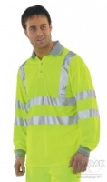High Visibility Long Sleeve Yellow Polo Shirt with Grey Collar