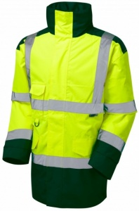 High Visibility Yellow & Bottle Green Superior Waterproof Jacket - ENISO 20471