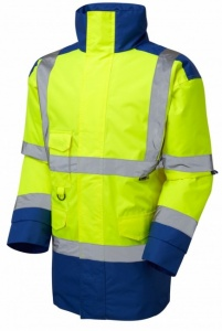 High Visibility Yellow & Royal Blue Superior Waterproof Jacket - ENISO 20471