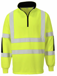 High Visibility Xenon Yellow Quarter Zip Sweatshirt