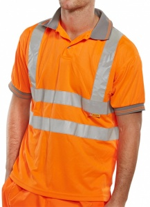 High Visibility Orange Polo Shirt with Grey Collar Short Sleeve