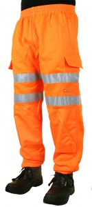 High Visibility Orange Sweat Jogging Cargo Trousers EN471 & Rail Spec