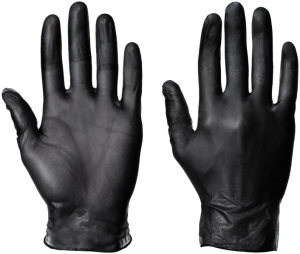 Black Vinyl Disposable Powder Free Gloves (Box of 100)