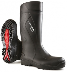Dunlop Purofort Black Full Safety Wellington Boots With Steel Toe Cap And Mid Sole