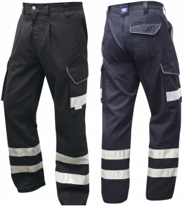 High Visibility Black Or Navy Leo Superior Cargo Trousers CT02