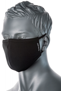 CV22 - 2 Ply Anti-Microbial Washable Black Cotton Fabric Face Mask - Reusable