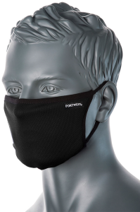 CV33 - 3 Ply Anti-Microbial Washable Black Fabric Face Mask - Reusable
