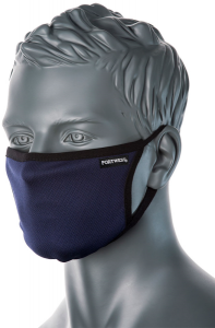 CV33 - 3 Ply Anti-Microbial Washable Navy Blue Fabric Face Mask - Reusable