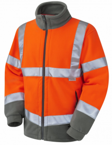 High Visibility Orange Leo F01 Two-Tone Interactive Fleece Jacket