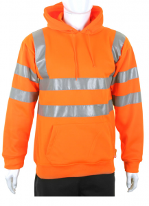 High Visibility Orange Hooded Pull Over Sweatshirt