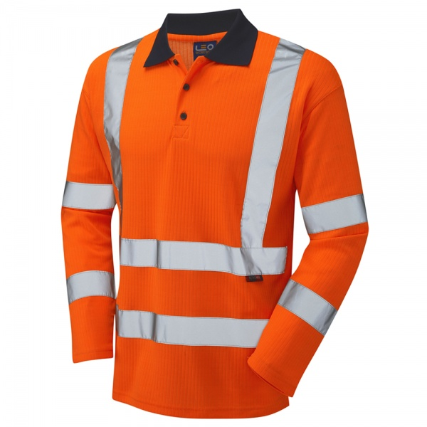 Long Sleeve Superior Swimbridge P05 High Visibility Orange Advanced Polo Shirt