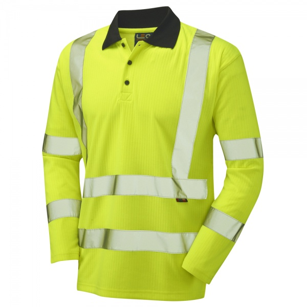 Long Sleeve Superior Swimbridge P05 High Visibility Yellow Advanced Polo Shirt