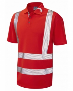 Leo Workwear P09-R Broadsands Coolviz Ultra High Visibility Red Polo Shirt