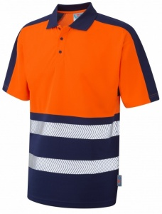 Superior Coolviz Plus High Visibility Orange/Navy Advanced Polo Shirt