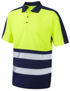 Superior Coolviz Plus High Visibility Yellow/Navy Advanced Polo Shirt