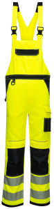 High Visibility Yellow/Black Poly Cotton Bib & Brace Overall