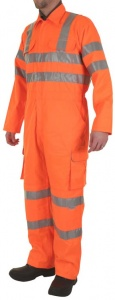 High Visibility Orange Boilersuit/Coverall EN471 And Rail Industry GO/RT 3279