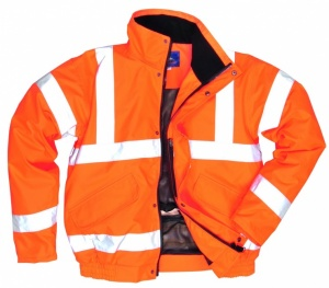 High Visibility Orange Waterproof Breathable Bomber Jacket Rail Standard