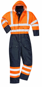 High Visibility Orange & Navy Lined Waterproof Coverall S485