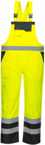 High Visibility Yellow & Black Waterproof Two-Tone Bib & Brace Overall