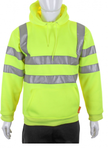 High Visibility Yellow Hooded Pull Over Sweatshirt