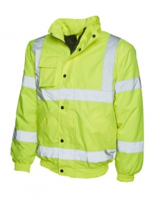 High Visibility Essentials Yellow Waterproof Bomber Jacket EN471