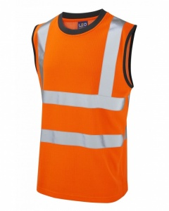 Leo Workwear V01-O Ashford High Visibility Orange Comfort Vest