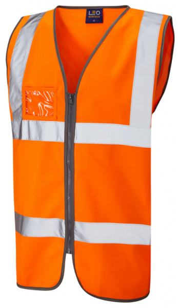 High Visibility Orange Vest with ID Pocket
