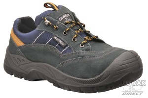 Grey Suede Safety Training Shoe With Steel Toe Cap And Mid Sole