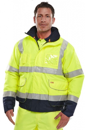 High Visibility Two Tone Yellow & Navy Waterproof Bomber Jacket EN471