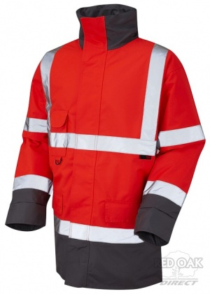 High Visibility Red & Grey Superior Waterproof Jacket - ENISO 20471