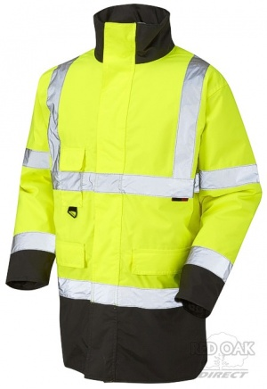 High Visibility Yellow & Black Superior Waterproof Jacket - ENISO 20471