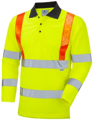 Bickleton Hi Vis Yellow Sleeved Polo Shirt with Orange Braces