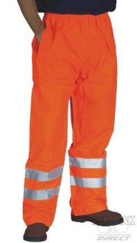 High Visibility Orange Breathable Waterpoof Overtrousers EN471 & Rail Spec.