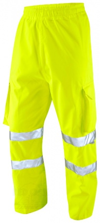 High Visibility Waterproof Breathable Yellow Executive Cargo Overtrousers EN471