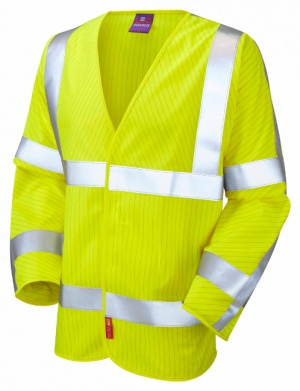Meshaw Limited Flame Spread / Anti-Static Hi-Vis Yellow Sleeved Waistcoat