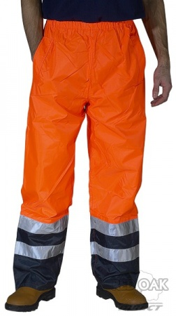 High Visibility Orange & Navy Belfry Waterproof Breathable Overtrousers