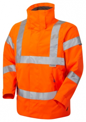 Ladies Premium High Visibility Orange Breathable Waterproof Jacket