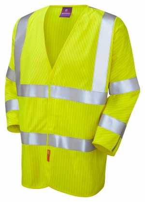Sticklepath Limited Flame Spread / Anti-Static Hi Vis Yellow 3/4 Sleeved Waistcoat