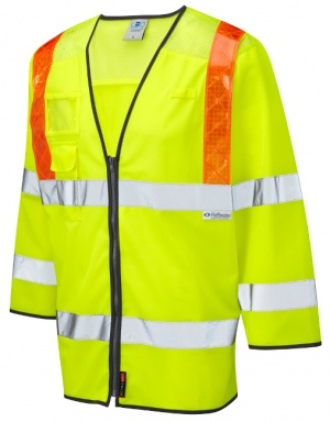 Taddiport Hi Vis Yellow 3/4 Sleeve Waistcoat with Orange Braces