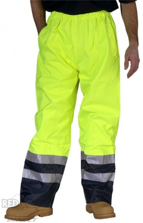 High Visibility Yellow & Navy Belfry Waterproof Breathable Overtrousers
