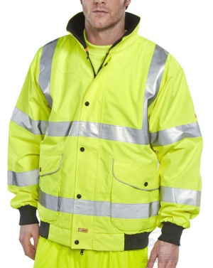 High Visibility Waterproof Yellow Breathable Super Bomber Jacket EN471